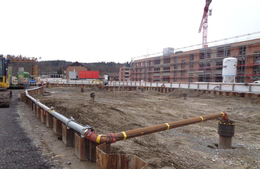 Boll Immobilien Neubauprojekt Überbauung NIDO Sennhof Winterthur Verkauf Eigentumswohnungen an der Töss Ein Nest für die ganze Familie Baufortschritt Wasser