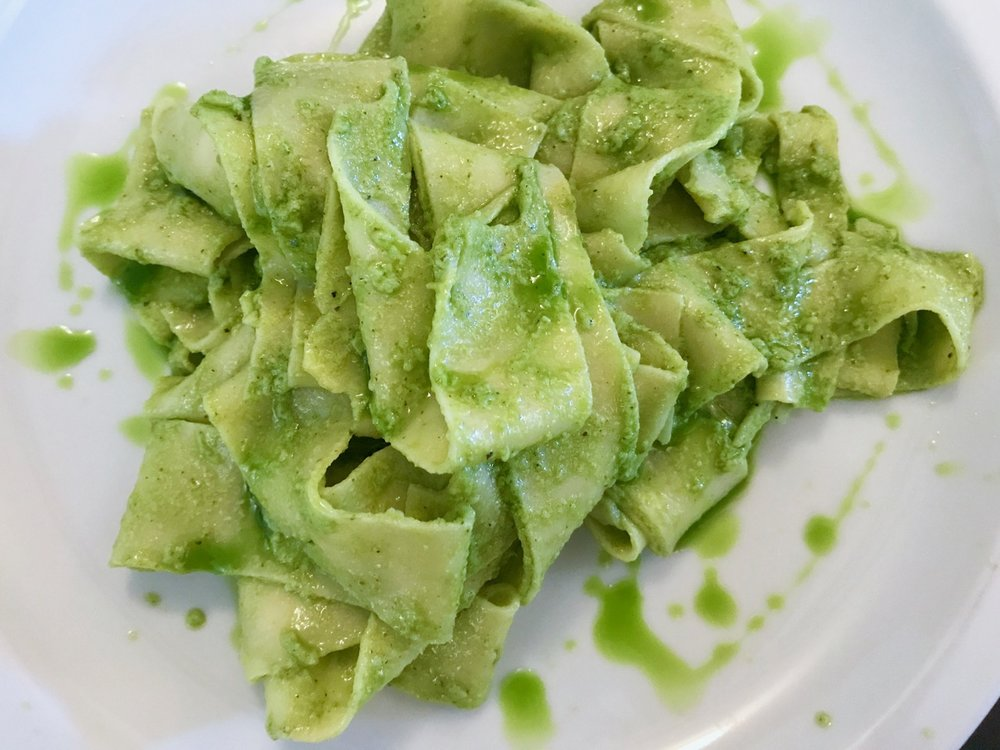 tagliatelle with pesto and basil oil