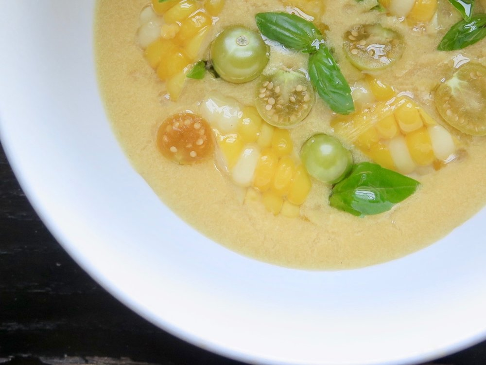 summer corn chowder with husk cherries
