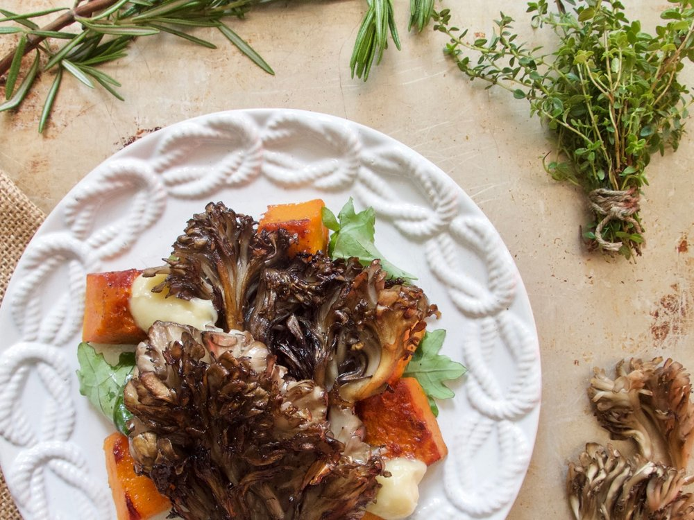 maitake mushrooms with butternut squash