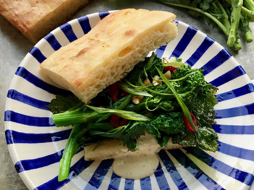 focaccia with broccoli rabe and Alabama white sauce