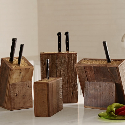 Reclaimed & Repurposed! $65.99 – $99.99 These unique knife blocks are created from reclaimed wood and are filled with wood skewers, allowing your own customized arrangement of knives. If the skewers become worn or soiled, just replace them. Treat yourself!