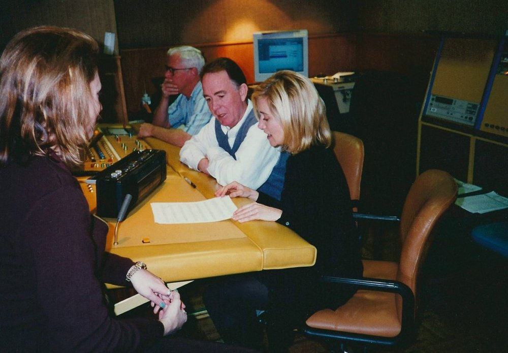 The other side of the recording booth at Hanna Barbera.  From left: Kara Vallow, Ed Collins, Bodie Chandler, Maureen McCormick, 1997