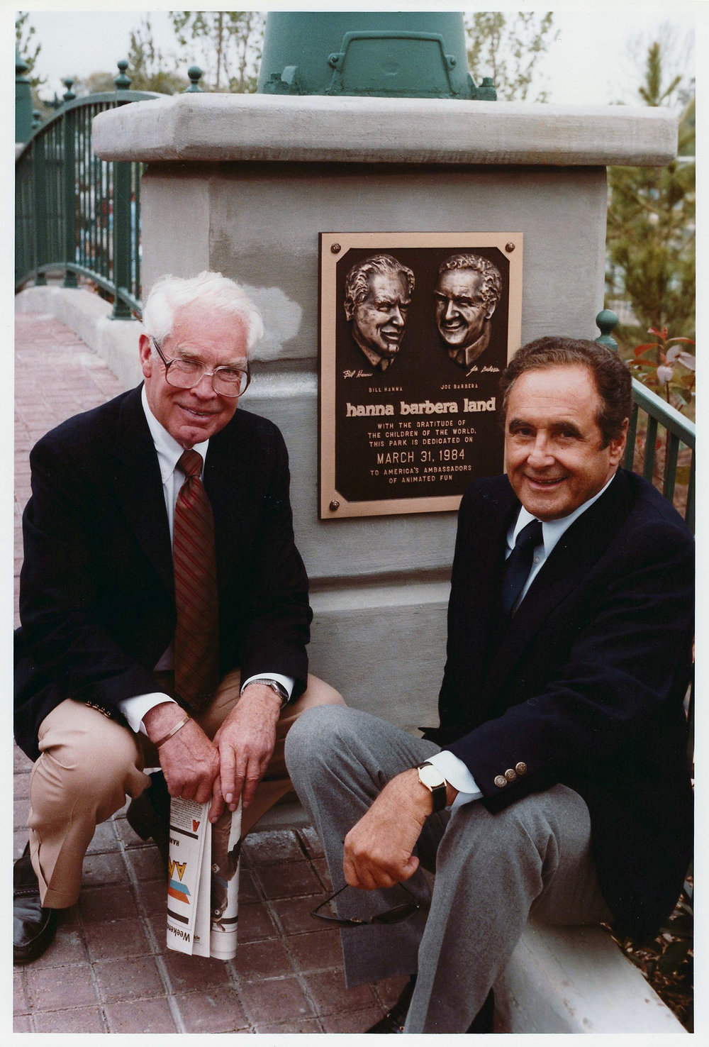 BILL HANNA & JOE BARBERA AT HANNA BARBERA LAND