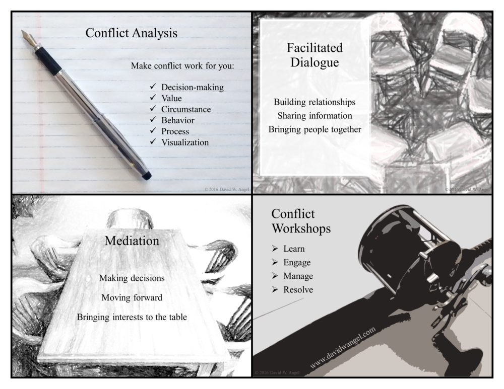 "David W. Angel conflict consulting booklet - inside pages. Right click to ""save as."""