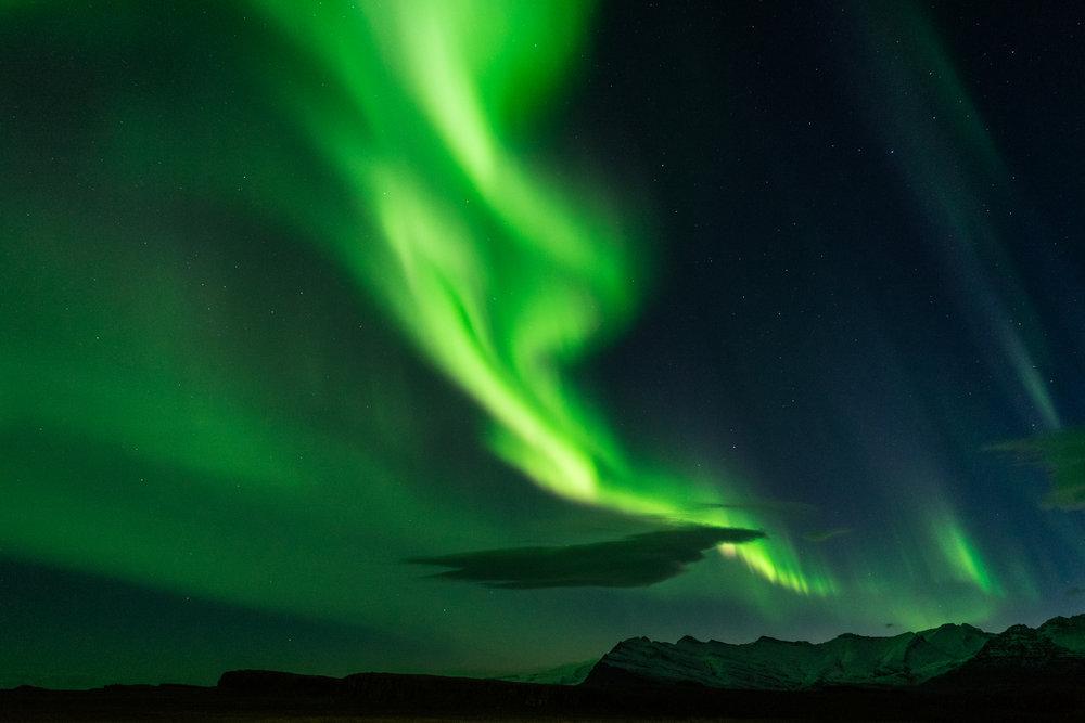 Abbildung 20 Aurora borealis (klingt etwas nach Zeckenbiss). Blende 4 - 4 Sekunden - ISO 2.500