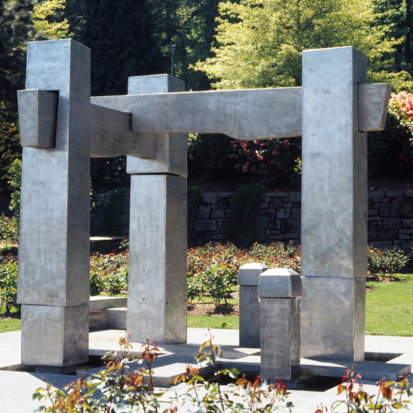 Frank E. Beach Memorial Fountain  Stainless steel, 12' high x 15' wide x 12' deep. 1975. International Rose Test Garden, Portland, Oregon.