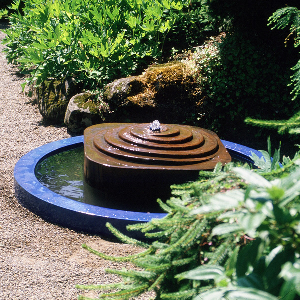Sir James Mcdonald memorial,  Elk Rock Garden, Portland Oregon Cor-Ten steel fountain, porcelain enamel pool rim, 1984.