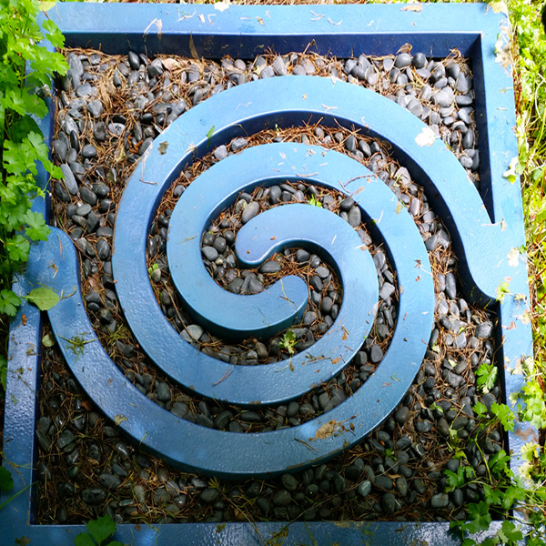Garden spiral  Welded steel and porcelain enamel,. Sited at Leland Iron Works.