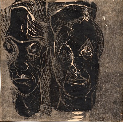 "Untitled (portraits), 1956. Lithograph, 10.05"" h x 11"" w. $1200."