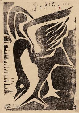 "Untitled (crane), 1956. Wood block print on rice paper, 10"" h x 7"" w."
