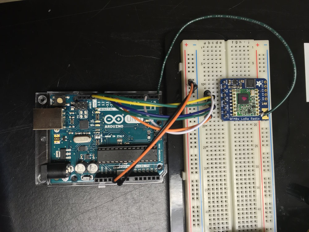 Arduino Uno connected to Adafruit's LoRa RFM9x Radio Transceiver Module