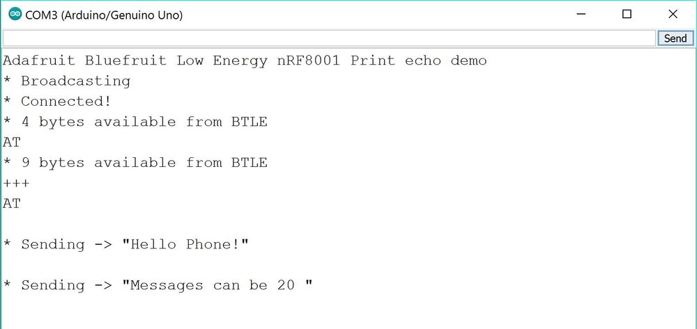 Snip from the Arduino Serial Monitor during transmission testing