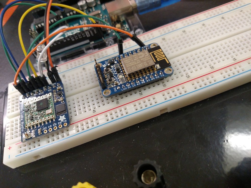 Work on integrating the LoRa radio receiver and the Huzzah ESP8266.