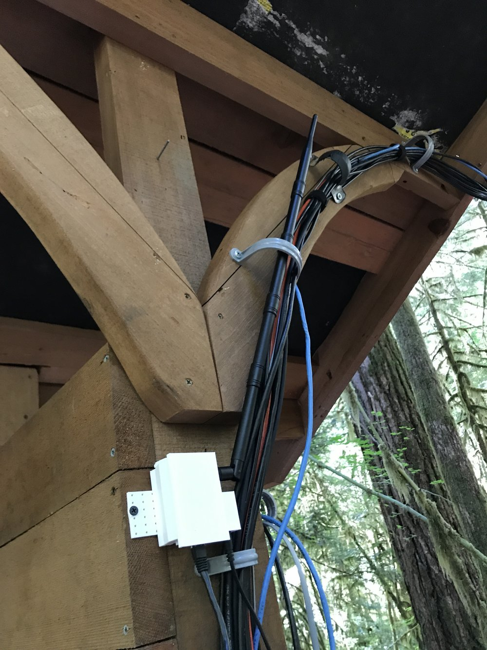 Our receiver hub connected to the power cables on the Discovery Trail weather station, recording transmissions from the Evaporometer.