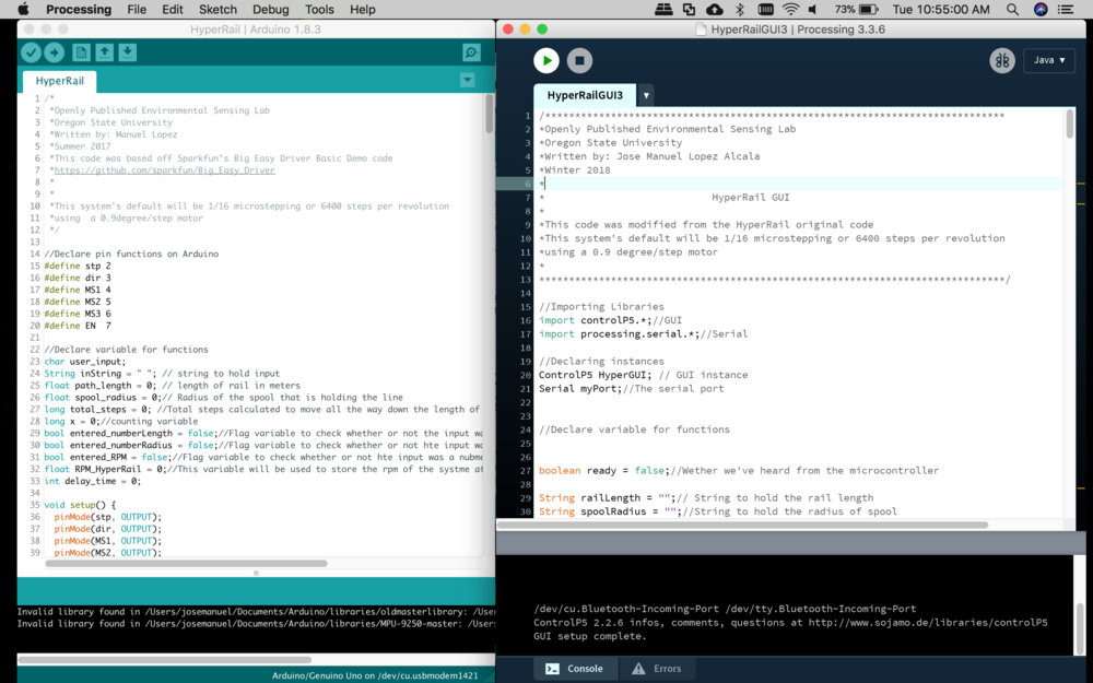 Screenshot of the two IDEs. Left is Arduino and right is Processing