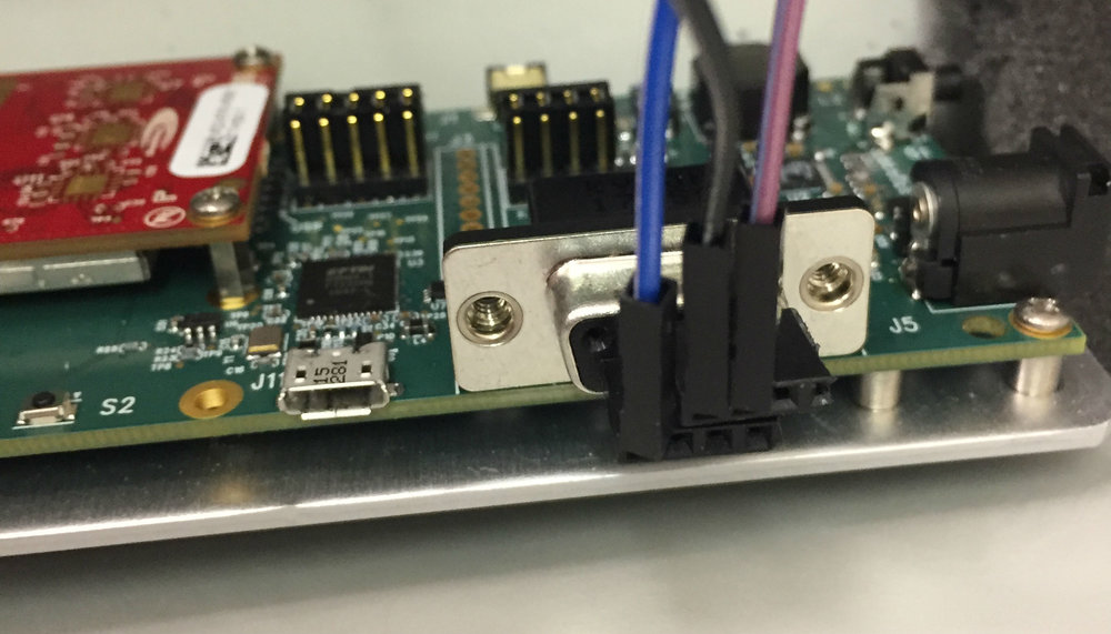 Female stacking row headers interfaced into D9 serial port