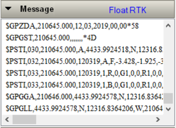 An RTK Float in GNSS Viewer indicates the serial port baud rate is correctly programmed