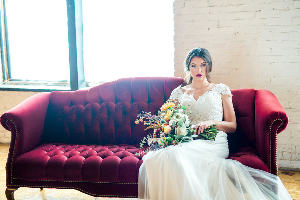 Couch Rental: Renown Rental/Gown: White Traditions Bridal House