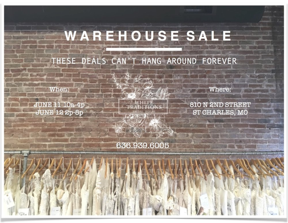 HUGE WAREHOUSE SALE - DESIGNER BRIDAL GOWNS $699 OR LESS