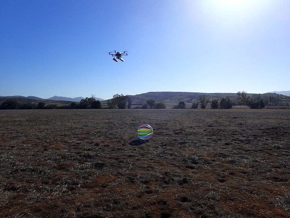 HOW DO YOU PRACTICE TRACKING WHALES WITH A DRONE? WHY WITH A BEACH-BALL OF COURSE!! HERE WE'RE PILOTING THE APH-22 HEXACOPTER IN POSITION OVER THE BALL IN ORDER TO SIMULATE PHOTOGRAMMETRY AND BREATH SAMPLING. THE BALL GENTLY BLEW AROUND OUR TRAINING COURSE GIVING A MOVING TARGET.