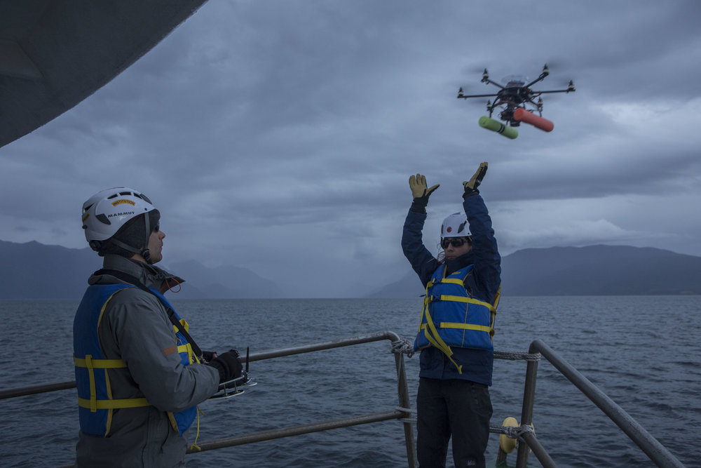 Measuring blue whales in Chilean Patagonia using drones:  Matthew S. Leslie (Smithsonian Institution) and Carolyn Miller (Woods Hole Oceanographic Institution) deploy the APH-22 hexacopter for measuring body metrics of Chilean pygmy blue whales in the Gulfo de Corcovado, Chilean Patagonia. Photo by Dani Casado (http://www.danicasado.com/)