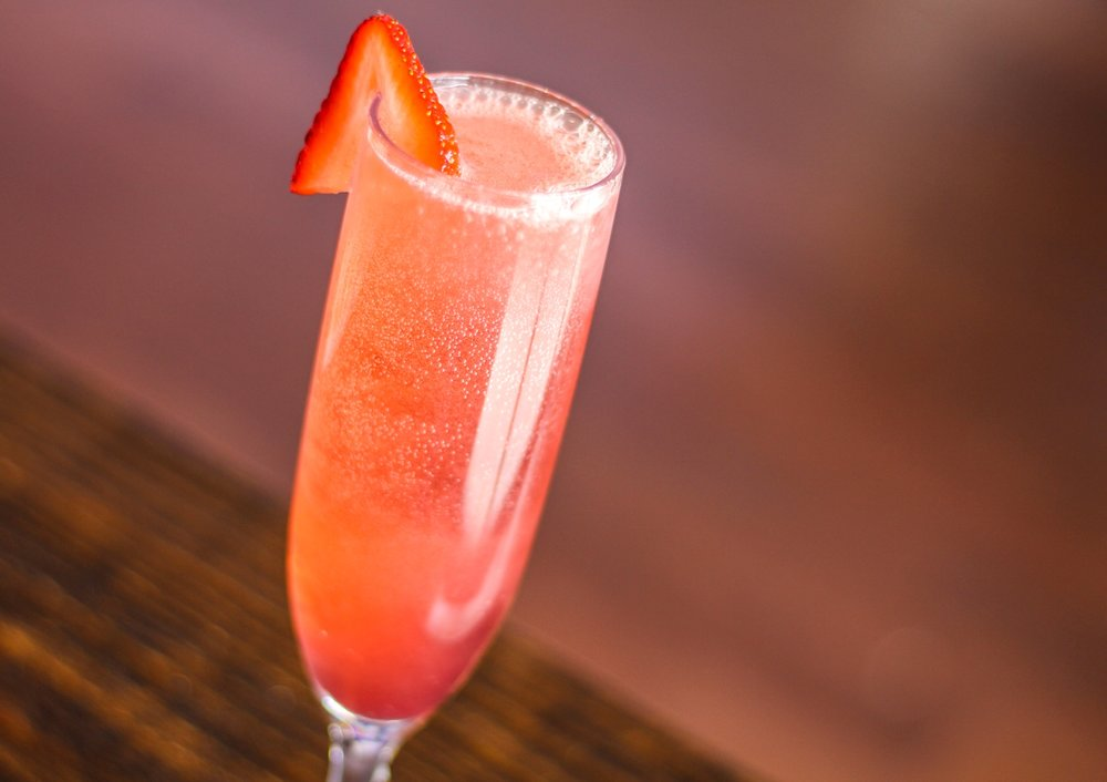 The Lilly | 5 - Prosecco, Fusion Liqueur, O3 Orange Liqueur, Lemon Juice, Strawberry