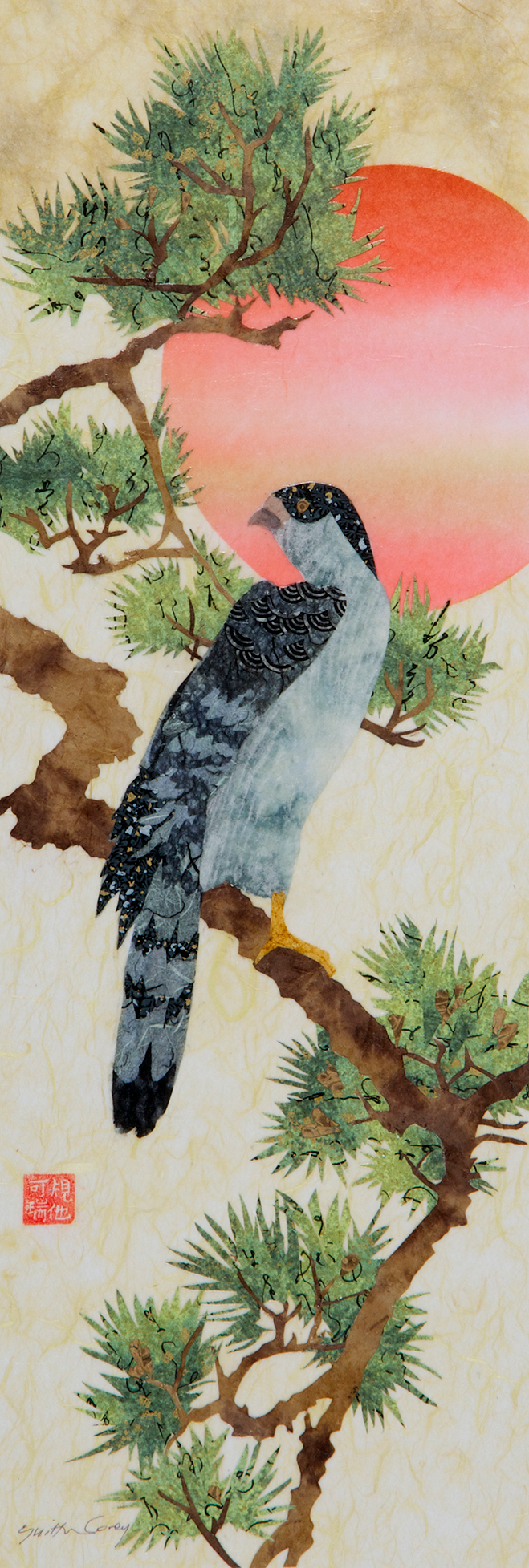 Hawk on a Pine (after Hiroshige)