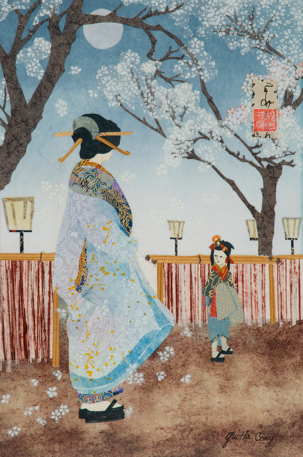 Moon Over Cherry Trees (after Yoshitoshi)