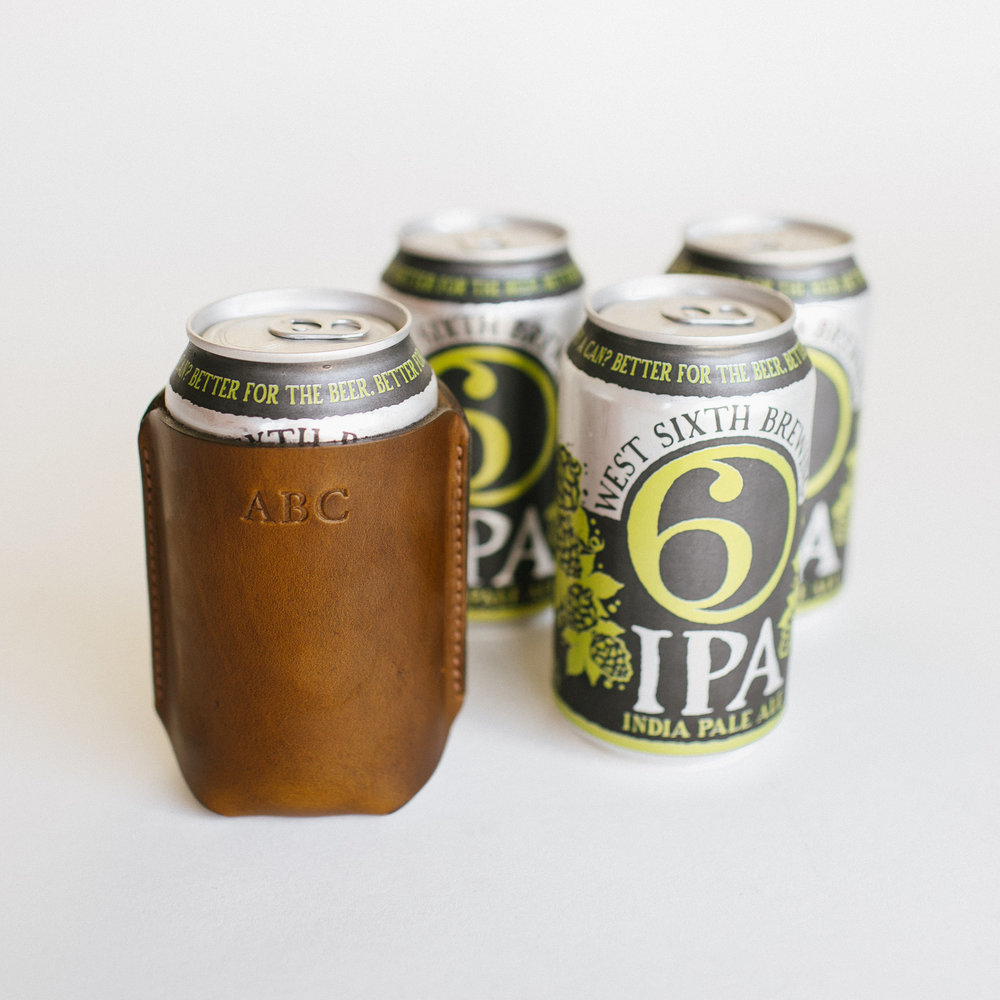 Monogrammed Leather Koozies by Clayton & Crume