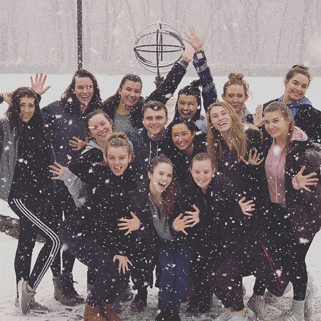 Sometimes you just have to play in the snow ❄️ Love my dance majors. Ball change whack death drop snow angel. #snowjazz
