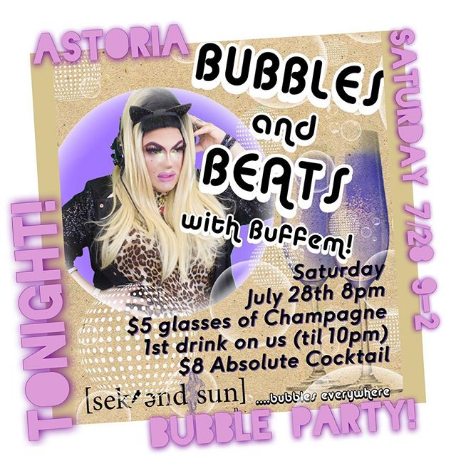 Tonight!!! Bubble Party at @sekendsun #Astoria 8pm-2am (I'll be DJing at 9) first drink FREE! (Till 10pm) and 5$ Champs & 8$  all night absolute cocktails! Let's party ya bastards!!!! #BuffemBeautiful