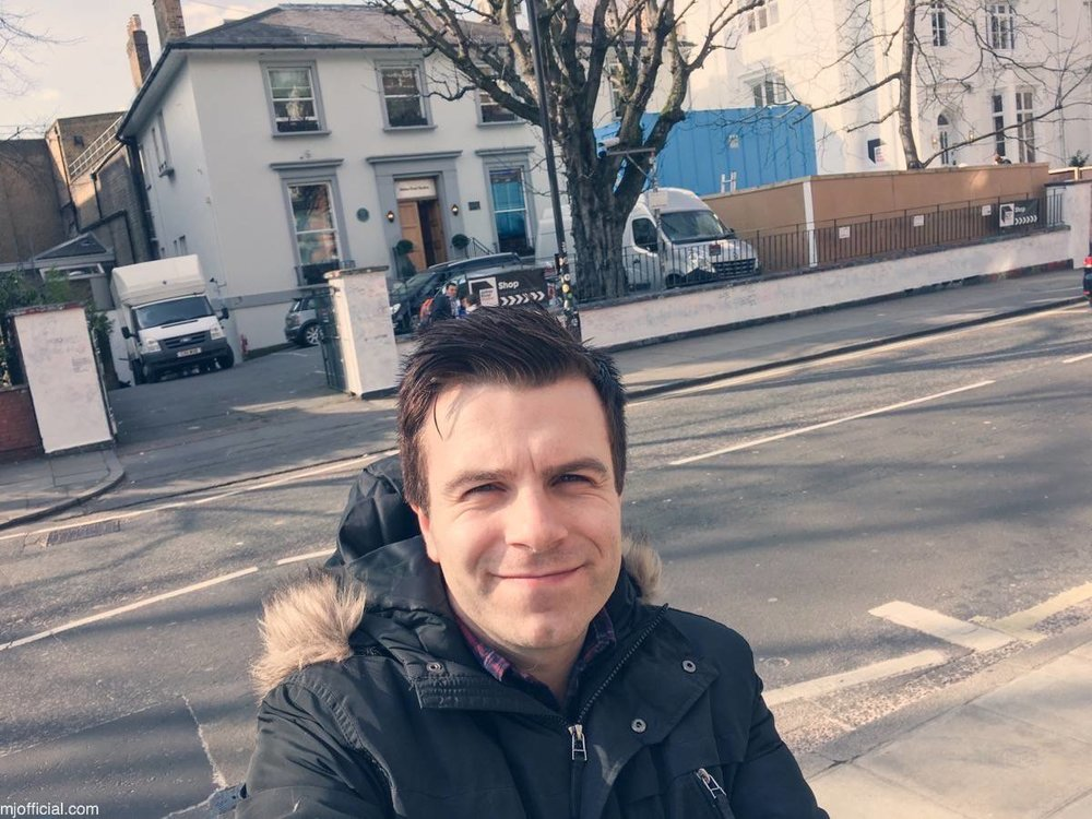 Image of Matt Johnson visiting Abbey Road recording studios in London, mastering two songs 'Get Over You' and 'Still in Love with you' from his 2017 debut album 'Chaplin Road'. Mastering engineer was Miles Showell.