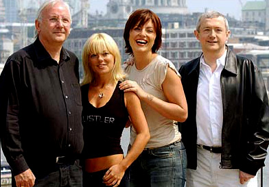 Image of Pete Waterman, Geri Halliwell and Louis Walsh and Davina McCall, the judges and host of Popstars The Rivals - Matt Johnson in One True Voice