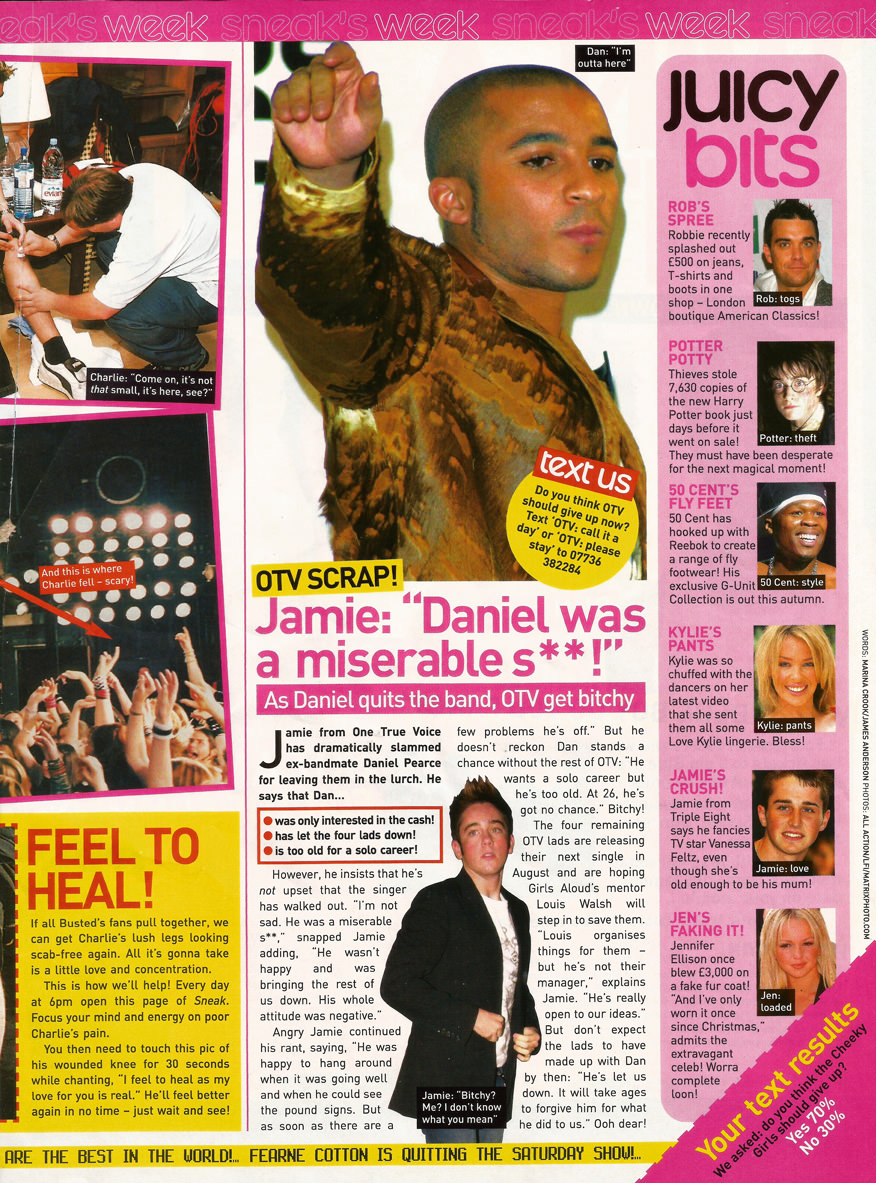 Magazine article featuring the Jamie and Daniel from One True Voice
