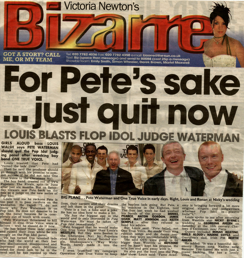 Press article about Louis Walsh slagging off Pete Waterman