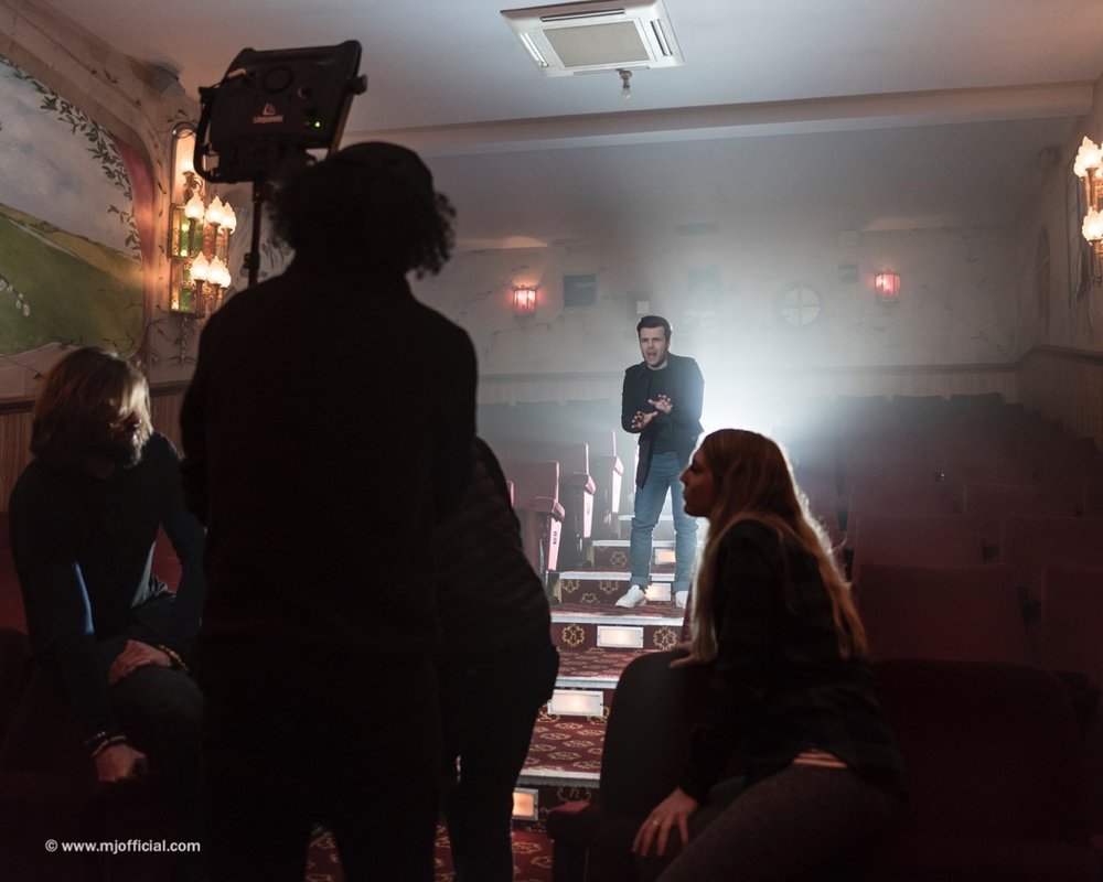 Image of Matt Johnson recording debut single video for 'Get Over You' with Jessica Hughes Films. First single from his debut album called 'Chaplin Road' release date 2017.