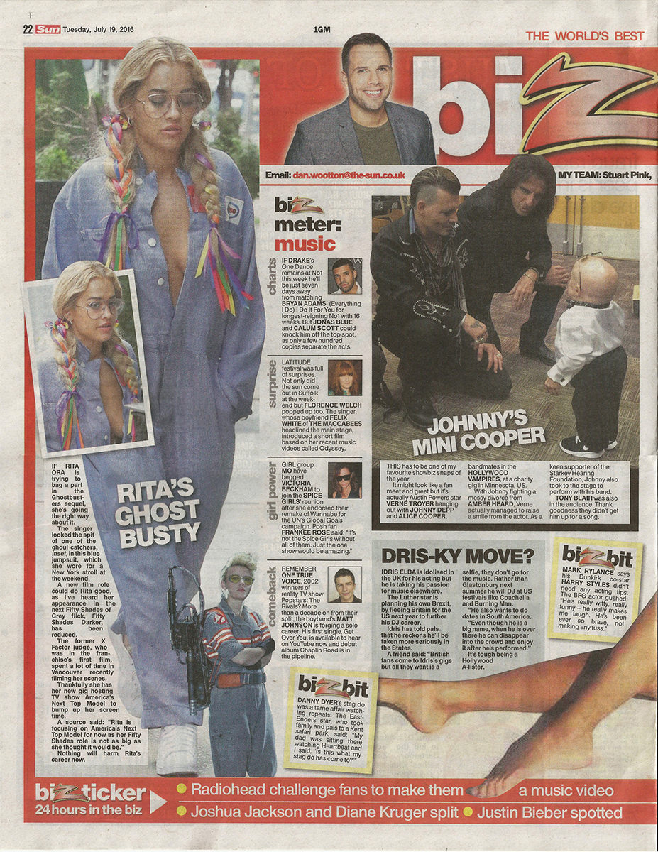 Matt Johnson in The Sun newspaper, Get Over You article summer 2016