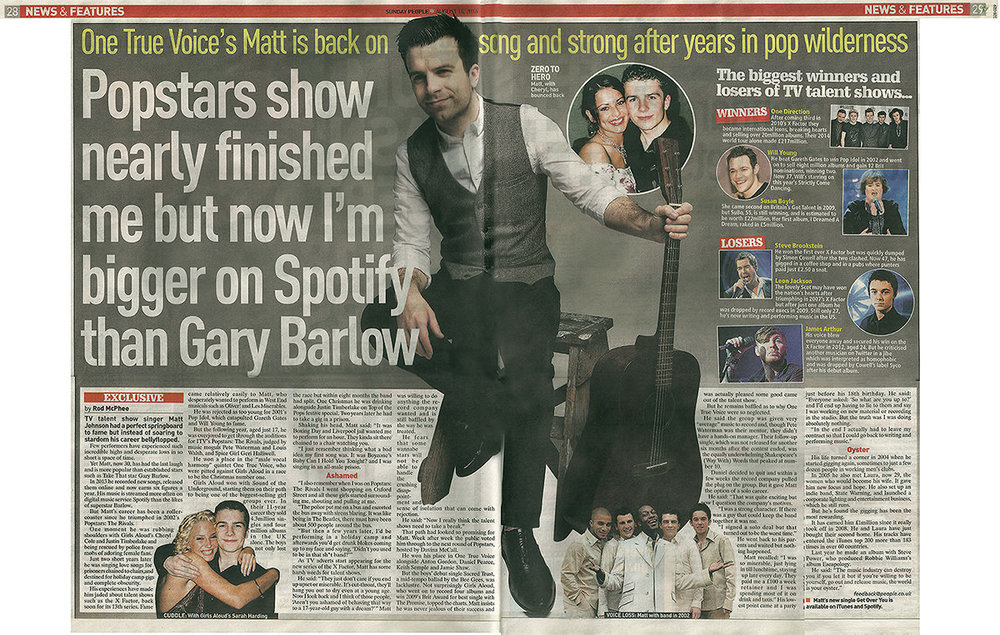 Double page spread in national newspaper 'The Sunday People' Summer 2016