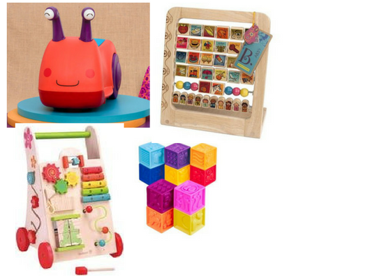TOY BUNDLE 1  A collection of trusted toys including B.Toys and Melissa + Doug. They are non-toxic, fun,  and age appropriate to help make your little ones feel right at home.   Suggested Ages: 6 months +