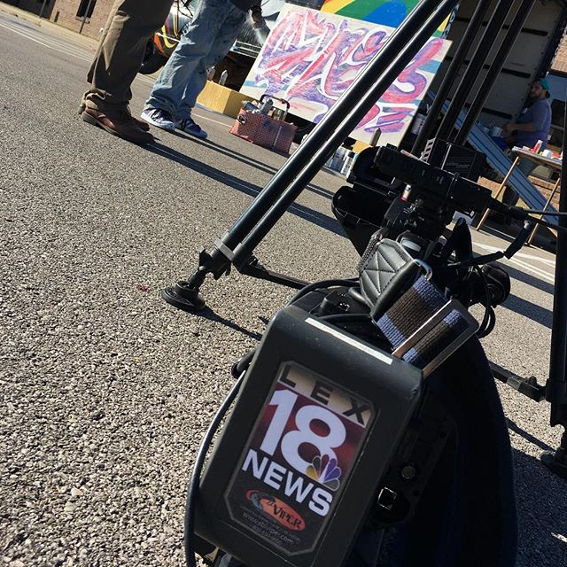 The news crew @lex18news came out and spoke to local artist #danigreene about the recent #trinitygay mural... #sharethelex #859trinity #nosidefest