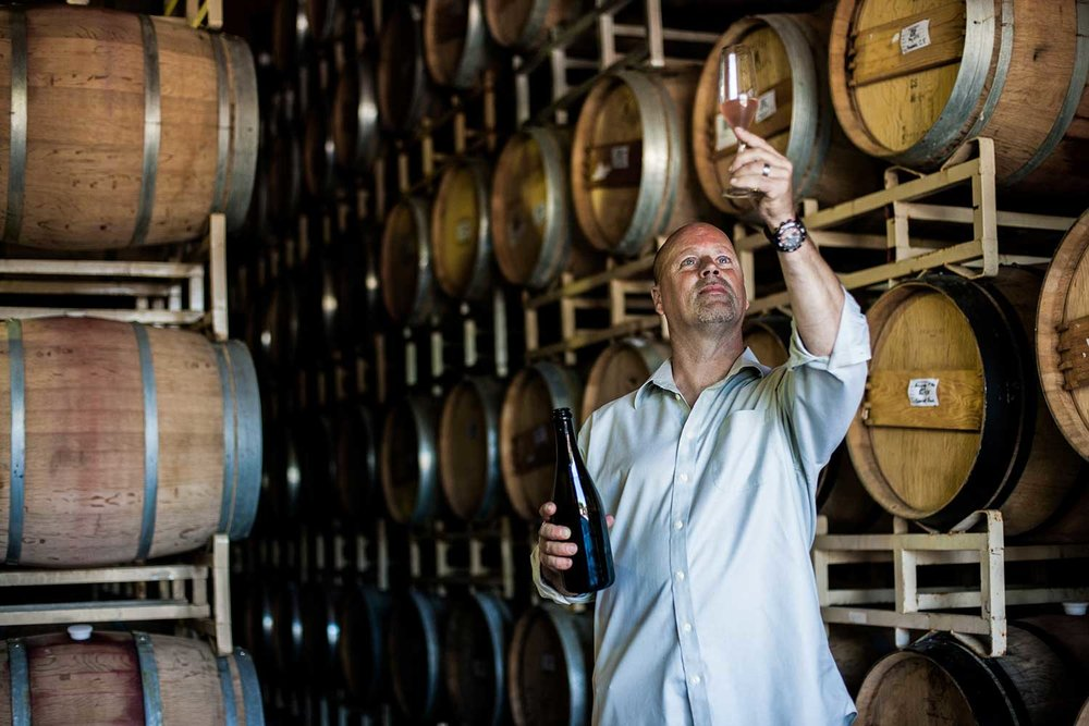 Winemaker, James Cambridge, in the barrel room.