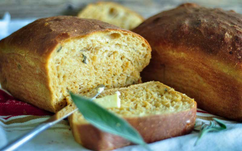 Sweet Potato Maple Sage Spelt Bread
