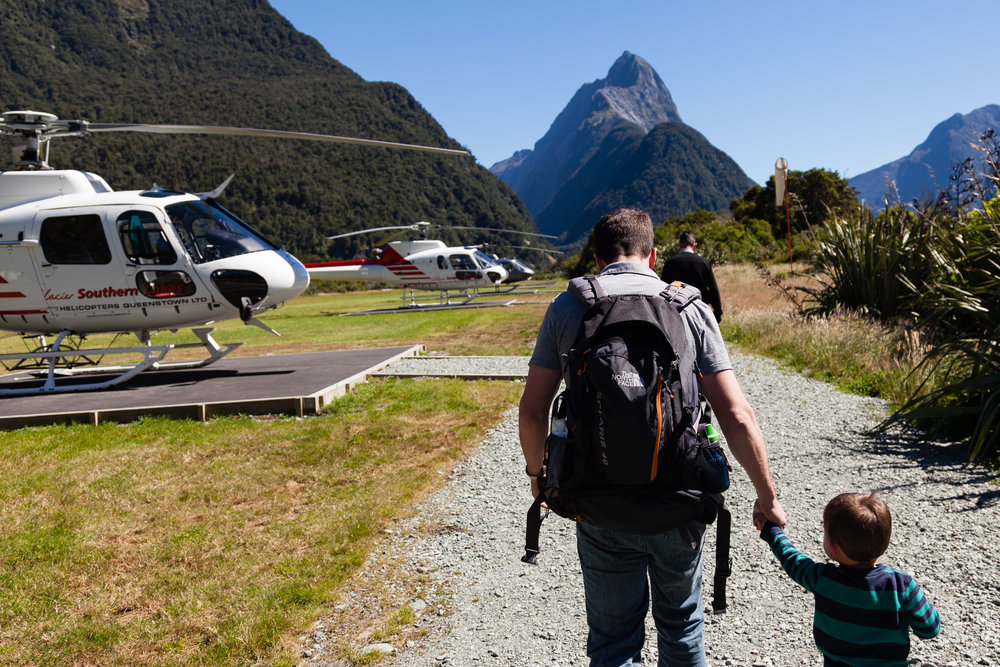 Heading back to the helicopter in Milford Sound.