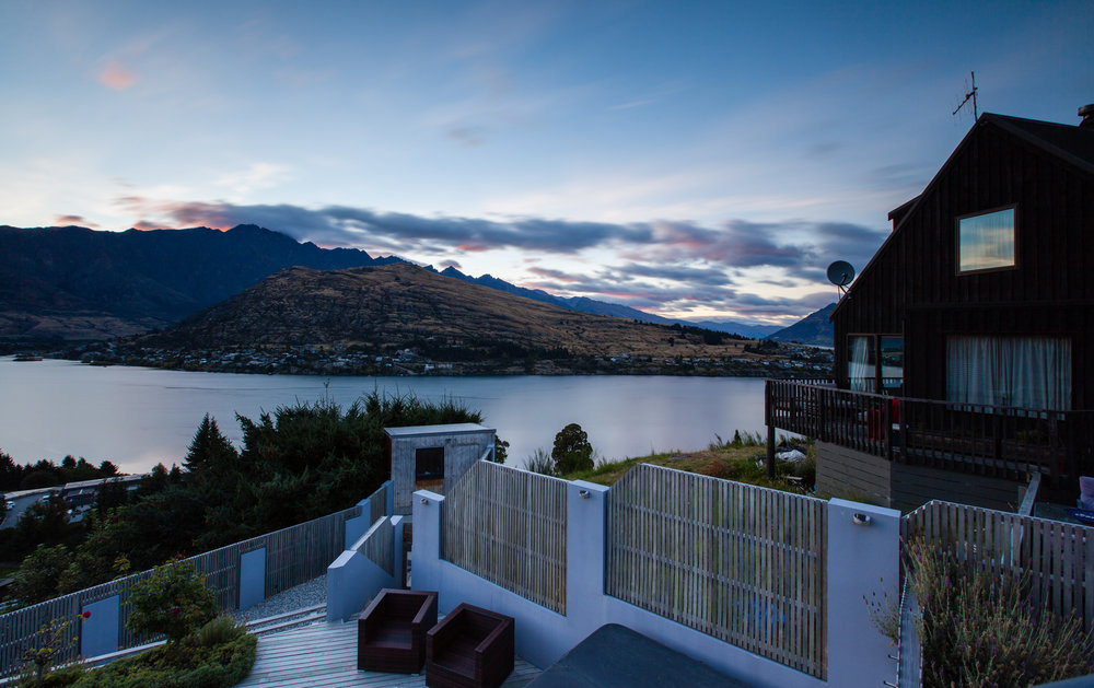 View of Queenstown at sunrise from our Airbnb rental! Epic 3 bedroom for an insanely reasonable price.