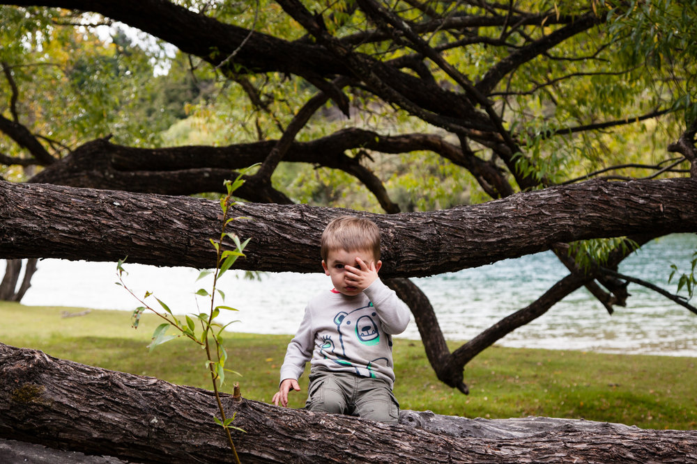 Tree climbing and peek-a-boo.