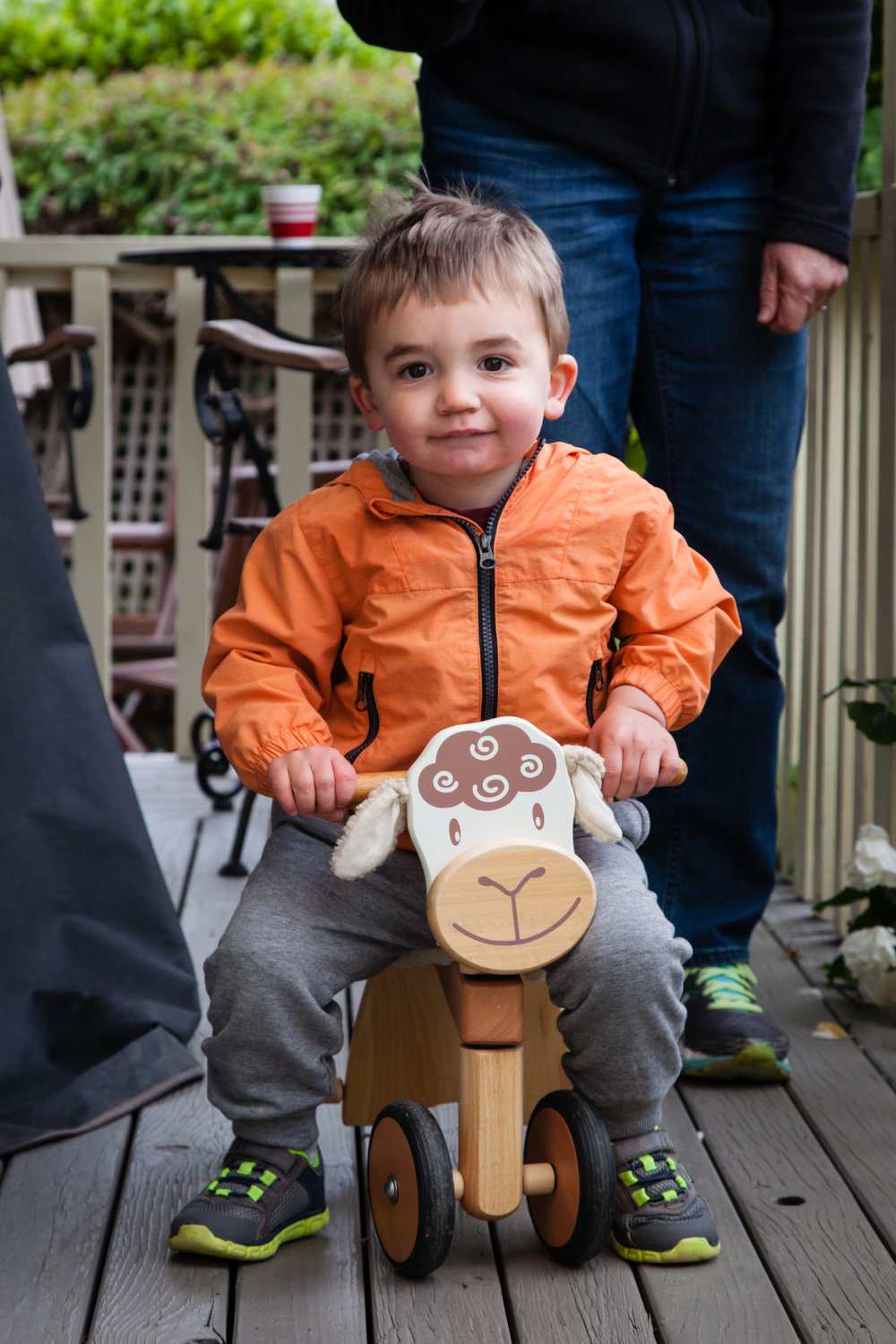 The farm had a little sheep bike. A huge hit with Lee!