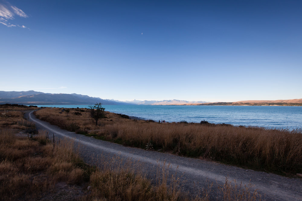 We were passing Lake Pukaki pretty close to sunset. With the snowy peaks in the background, I was very excited to get out and photograph. Unfortunately, Lee woke up from what was supposed to be the beginning of his night time sleep and was screaming bloody murder. So all I got was the above and below hastily composed and shot images. I wish I could have gotten more because the drive along this lake was nothing short of spectacular! But my kid's comfort definitely means more to me. So off we zoomed and the kid fell back asleep (for another hour or so...)!