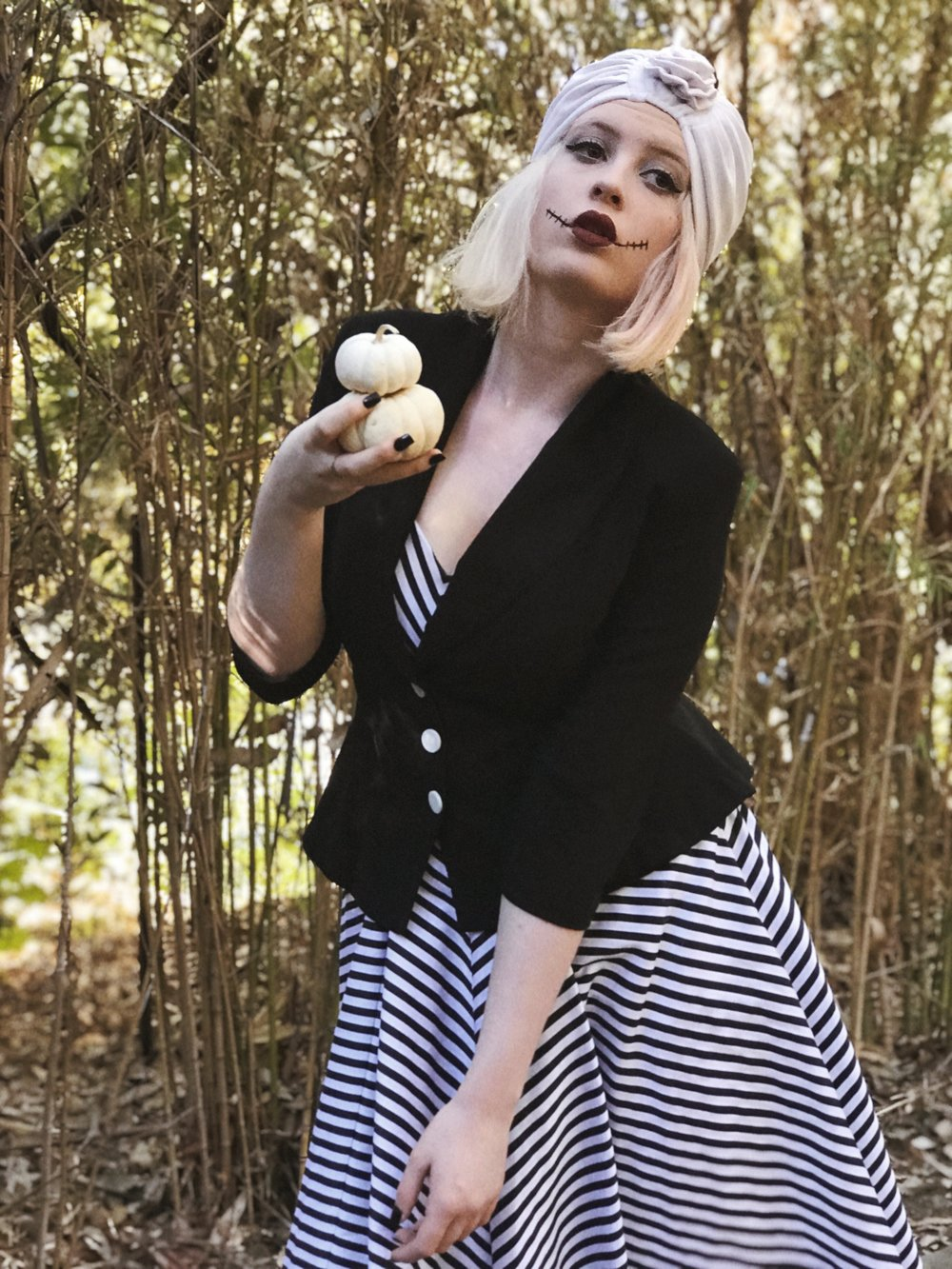 Jack Skellington   Jacket - Tatyana Boutique  Dress - Vixen By Micheline Pitt  Turban - Thrifted