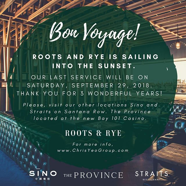 Bon Voyage!  #RootsAndRye is sailing into the sunset. Thank you for 3 wonderful years. — Tues-Wed: 11am-10pm Thurs-Sat: 11am-12am 🍻Happy Hour: 3pm-6pm 🥃ALL NIGHT–HH: Wednesday 🍳 Brunch: Fri 11am-3